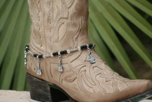 Boot Candy Black and Clear Crystals with Guitar Design Charm