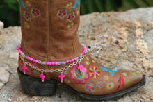 Boot Candy Naturals, Pink Crosses with Chain