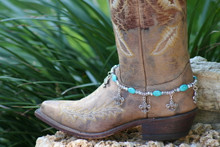 Boot Candy Turquoise Ovals and Flur de Lis