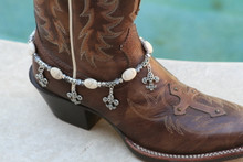 Boot Candy White Ovals and Flur de Lis