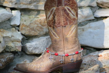 Boot Candy Red Ovals and Flur de Lis