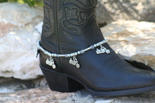 Boot Candy Gun Metal Pearls and Clear Crystals with Cruiser Charm