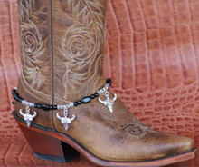 Boot Candy Black South Western Skull