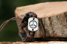 Leather and Chord Peace Bracelet