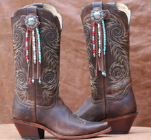 "Boot Candy Toppers,   attach to the tops of your Boots thru the Pull Straps.  This pair of Boot Candy Boot Toppers have Distressed Tan Leather with Antique Berry Concho and Red White and Blue Beads and Fringe  add subtle elegance to your boots.  Fringe measures 7"",  Concho measures 1.5""   We are Made in the USA."