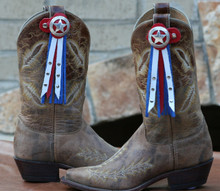 "Boot Candy Toppers,   attach to the tops of your Boots thru the Pull Straps.  This pair of Boot Candy Boot Toppers have Silver Star Conchos with Red, White and Blue Leather Fringe.  A perfect way to show your American Spirit.   Add subtle elegance to your boots.  Fringe measures 7"",  Concho measures 1.5""   We are Made in the USA."