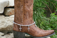 Boot Candy Gun Metal Pearls and Clear Crystals with Oval Design Crosses