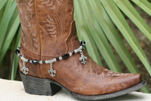 Boot Candy Black Crystals and Flur de Lis Charms