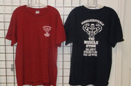 """Muscle Store Short Sleeve T- Shirt  Front: small Muscle Store logo left pec Back: large """"Muscle Guy"""" Musclestoreusa.com logo"""