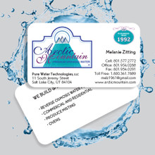 "Waterproof Business Card, 3.5"" X 2"" in size."