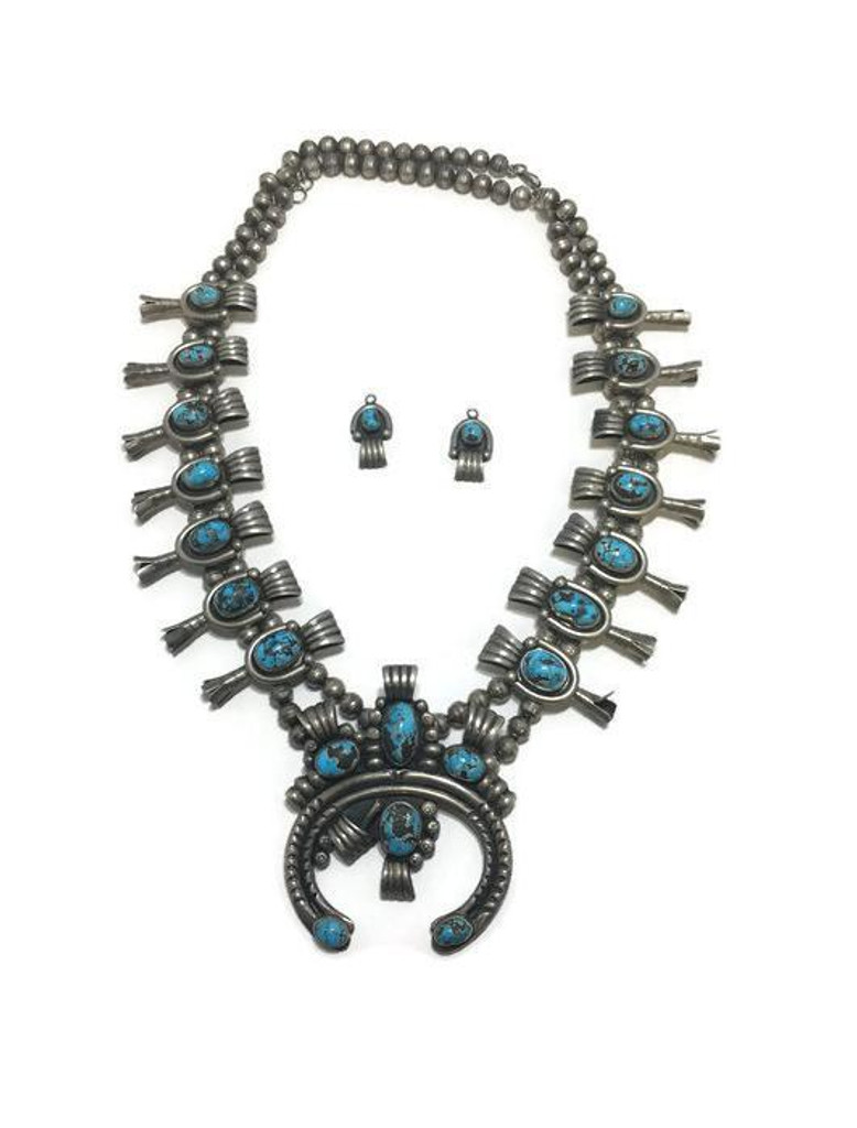 Old pawn Navajo Squash Blossom necklace with earrings.