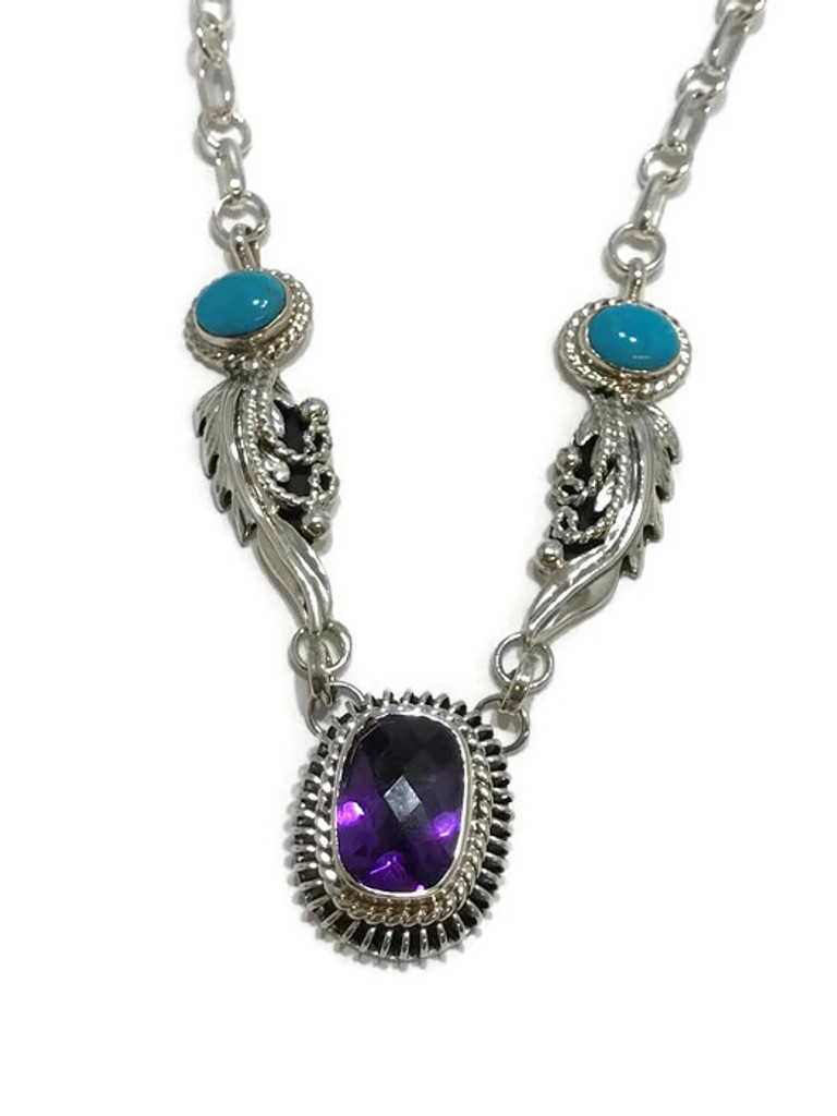 Native American made Turquoise and Topaz necklace.