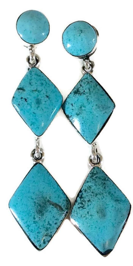Kingman Turquoise Drop Earrings Round and Diamond Shaped Stones Artist: Irvin Tsosie