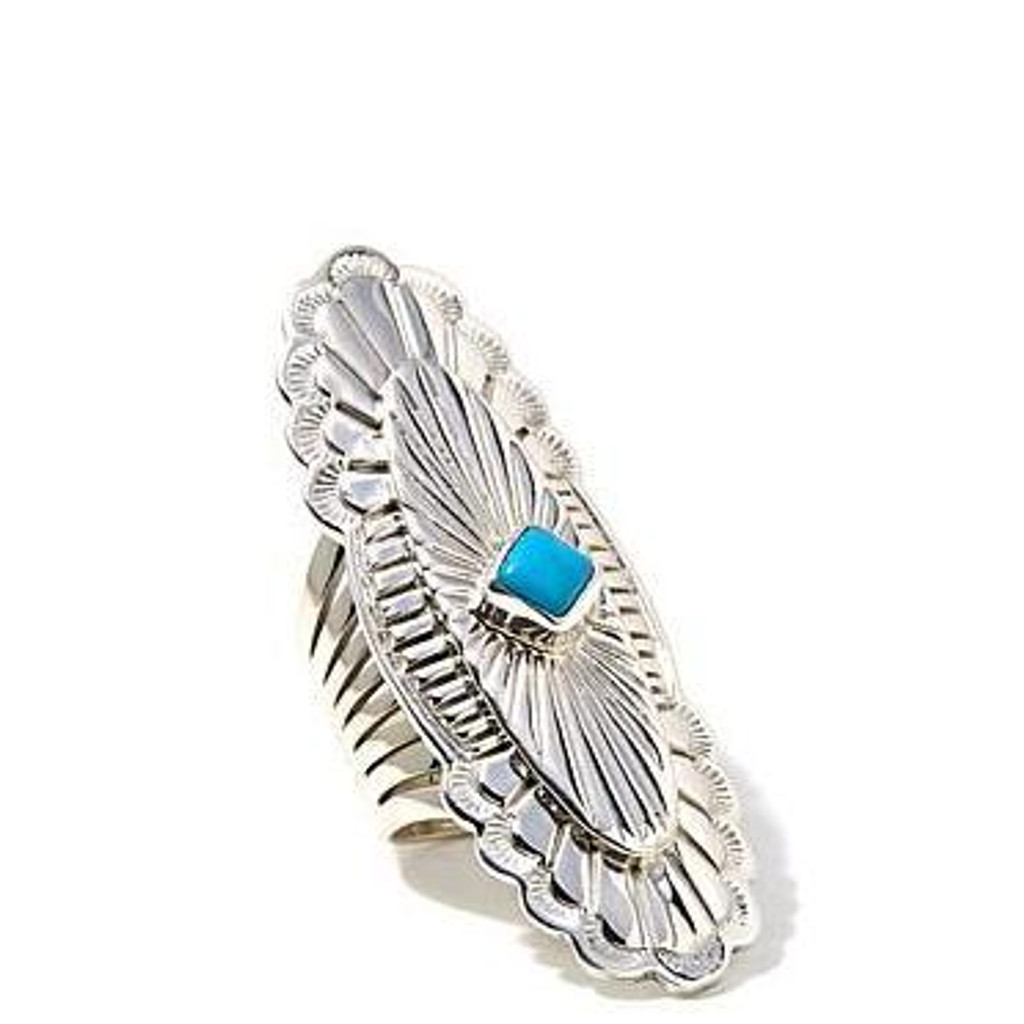 Shield Ring with Turquoise Stone Artist: Mike Smith