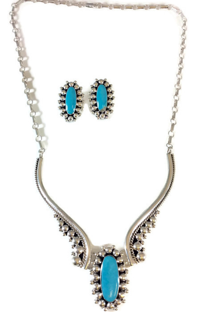 Turquoise Cluster Necklace and Earrings
