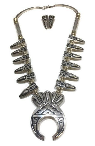 "Chaco Canyon silver squash blossom necklace with earrings. Navajo made with an artist stamp of ""JT""."