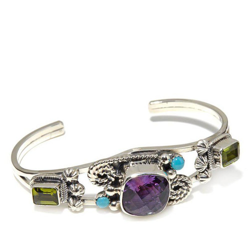 African Amethyst, Peridot, and Kingman Turquoise Cuff