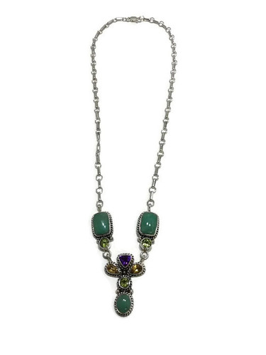 Native American made multi faceted stone and turquoise necklace