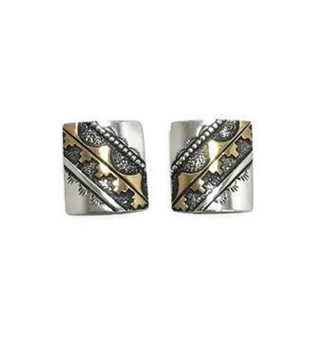 Native American made Tommy Singer clip-on earrings with silver and gold fill.