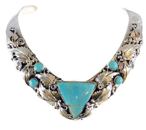 Kingman Turquoise Collar Necklace .925 Sterling Silver Handcrafted