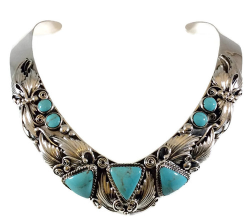 Kingman Turquoise Collar Necklace .925 Sterling Silver