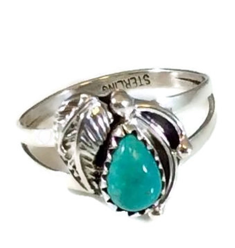 Pear Turquoise Stone Double Leaf Ring Sterling Silver Artist: Karma Harvey