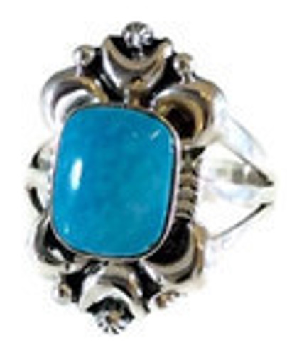 Rectangular Kingman Turquoise Ring with Moon Castings Artist: Marie Jones .925 Sterling Silver