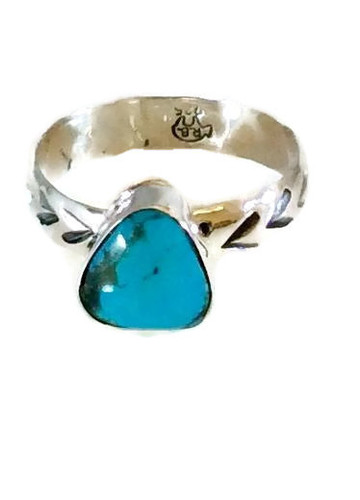 Triangular Kingman Turquoise Ring .925 Sterling Silver Navajo Tribe Native American Jewelry Artist: Antonio Etsitty