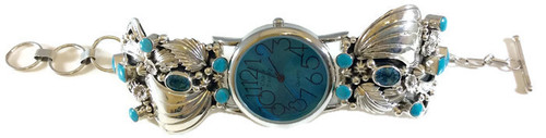 Turquoise and Swiss Blue Topaz Floral Watch .925 Sterling Silver