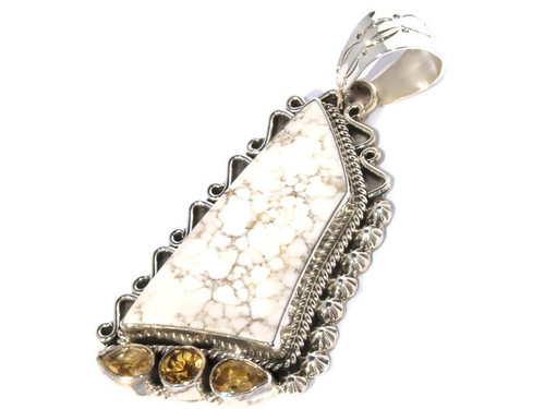 White buffalo pendant with 3 citrine stones Navajo Tribe Native American Jewelry