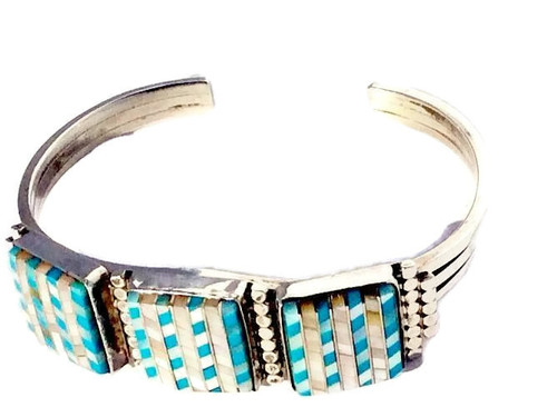 Sleeping Beauty Turquoise and Mother of Pearl Stones Zuni Inlay Design Cuff Bracelet Zuni Native American Jewelry .925 Sterling Silver