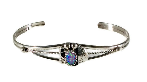 Pink Opal Leaf Stone Sterling Silver Cuff Bracelet .925 Sterling Silver Navajo Tribe Native American Jewelry Handcrafted