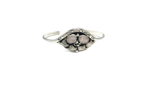 Pink Mussel Shell Multiple Leaf Cuff .925 Sterling Silver Navajo Tribe Native American Jewelry Handcrafted