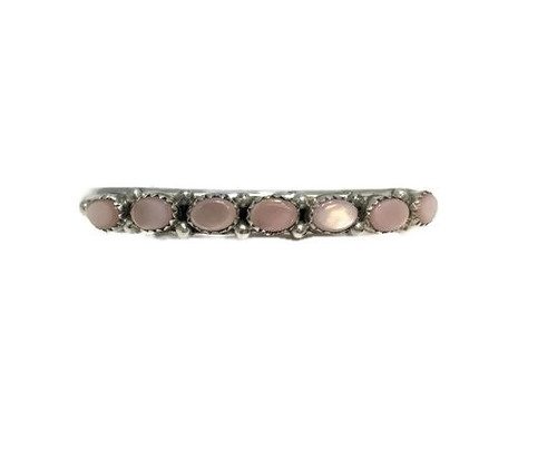 7 Oval Stone Pink Mussel Shell Stone .925 Sterling Silver Navajo Tribe Native American Jewelry Handcrafted