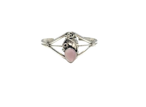 Oval Pink Mussel Shell Stone .925 Sterling Silver Navajo Tribe Native American Jewelry Hamdcrafted