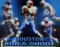 "Run & Shoot Autographed 16x20 Photo Houston Oilers ""HOF 06"" With 5 Signatures Including Warren Moon"
