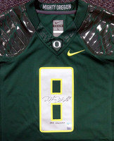 "Marcus Mariota Autographed Green Nike Jersey Oregon Ducks ""2014 Heisman"" Size Large"