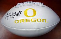 Marcus Mariota Autographed White Logo Football Oregon Ducks MM Holo