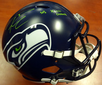"Russell Wilson Autographed Seattle Seahawks Full Size Speed Replica Helmet in Green ""SB XLVIII Champs"" RW Holo"