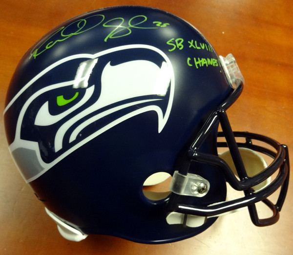 "Richard Sherman Autographed Seattle Seahawks Full Size Helmet ""SB XLVIII Champs!"" in Green RS Holo Stock #94454"