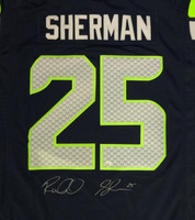Richard Sherman Autographed Seattle Seahawks Blue Nike Twill Jersey Size XL RS Holo Stock #94464