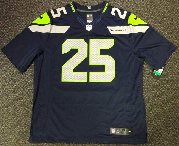 Richard Sherman Autographed Seattle Seahawks Blue Nike Twill Jersey Size XL RS Holo Stock #94464