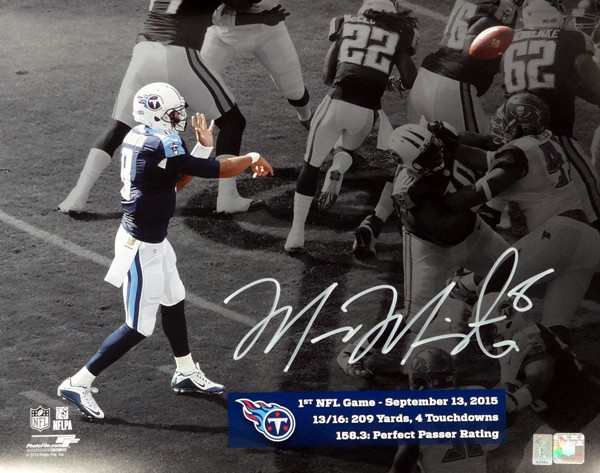 Marcus Mariota Autographed 16x20 Photo Tennessee Titans First Game MM Holo