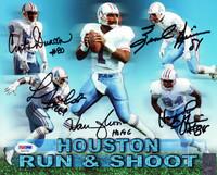 "Run & Shoot Autographed 8x10 Photo Houston Oilers ""HOF 06"" With 5 Signatures Including Warren Moon PSA/DNA"