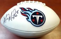 Marcus Mariota Autographed White Logo Football Tennessee Titans MM Holo