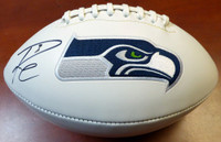 Russell Wilson Autographed White Logo Football Seattle Seahawks RW Holo
