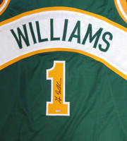 Seattle Sonics Gus Williams Autographed Green Jersey MCS