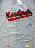 """St. Louis Cardinals Stan Musial Autographed Gray Mitchell & Ness Jersey """"HOF 69"""" Size 52 PSA/DNA"""