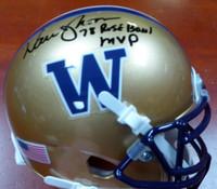 "Warren Moon Autographed Washington Huskies Mini Helmet ""78 Rose Bowl MVP"" MCS Holo"
