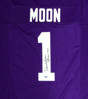 "Washington Huskies Warren Moon Autographed Purple Jersey ""78 Rose Bowl MVP"" MCS Holo"